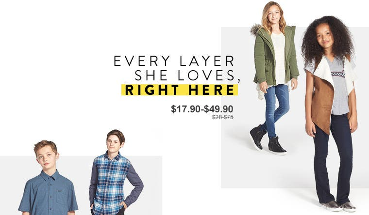 Every layer she loves, right here. Anniversary Sale girls' clothing.