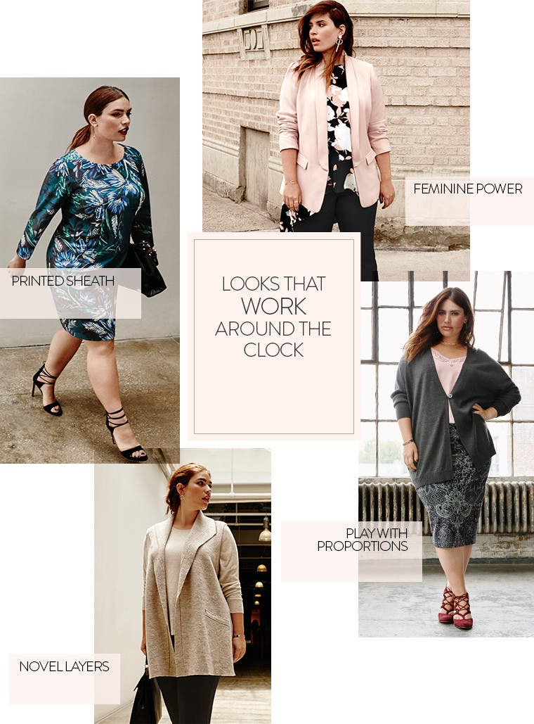 Looks that work around the clock. Plus-size work clothing.