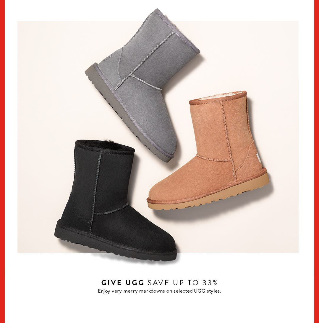 Save up to 33% on selected UGG shoes for kids.