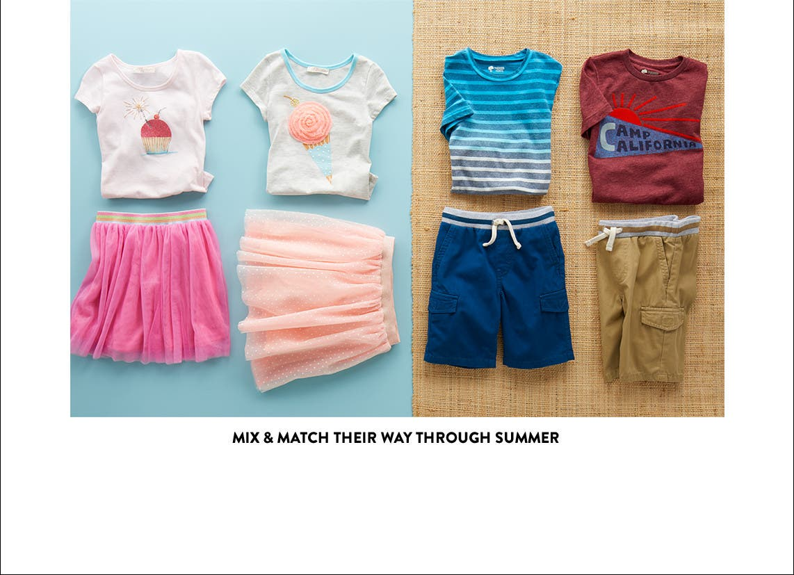 Easy-to-mix summer clothing for little girls and boys.