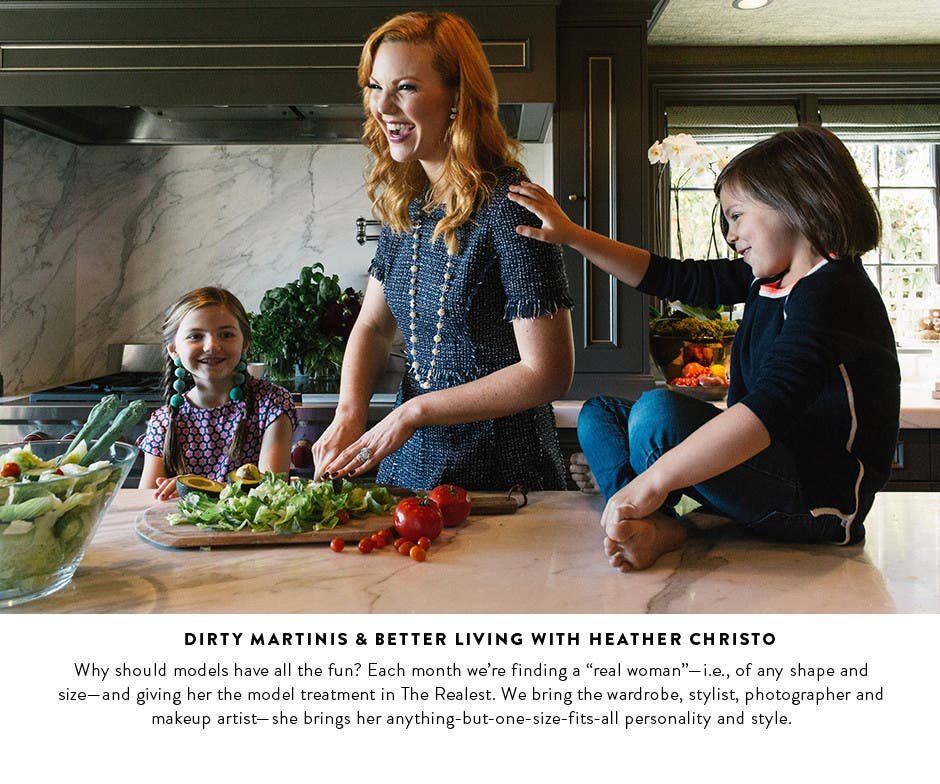 Dirty martinis, gold mules and better living with chef Heather Christo, who models some of our Dress Spotlight pieces.