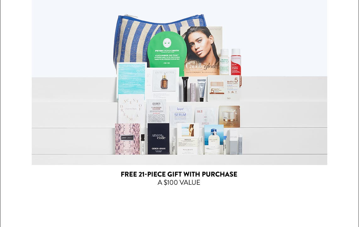 Free 21-piece gift with purchase. A $100 value.