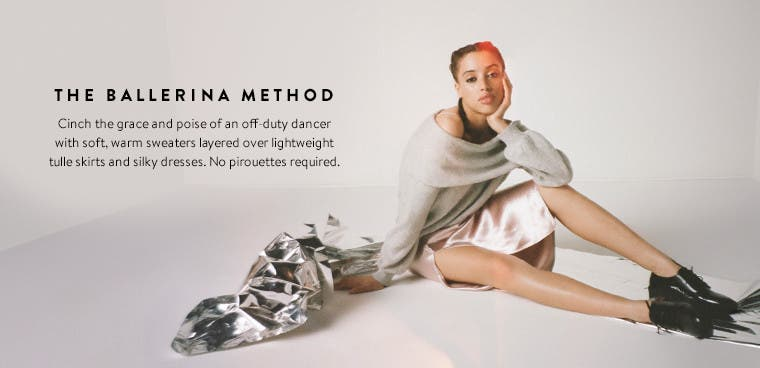 The ballerina method: ballet-inspired trend clothing, shoes and accessories for women.
