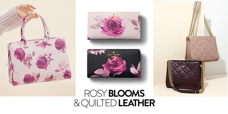 Rosy blooms and quilted leather: kate spade new york floral handbags and wallets.