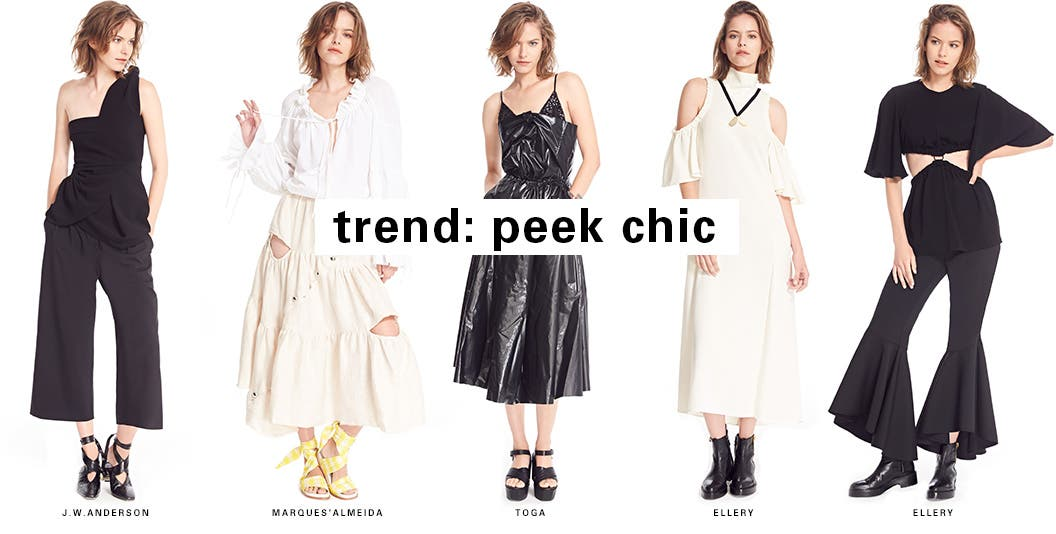 SPACE trend: peek chic. One of our favorite resort season trends is all about bared shoulders, coolly carved details and asymmetrical silhouettes.