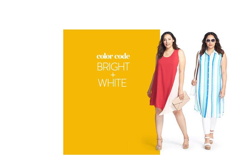 Color Code: Bright plus white plus-size clothing.