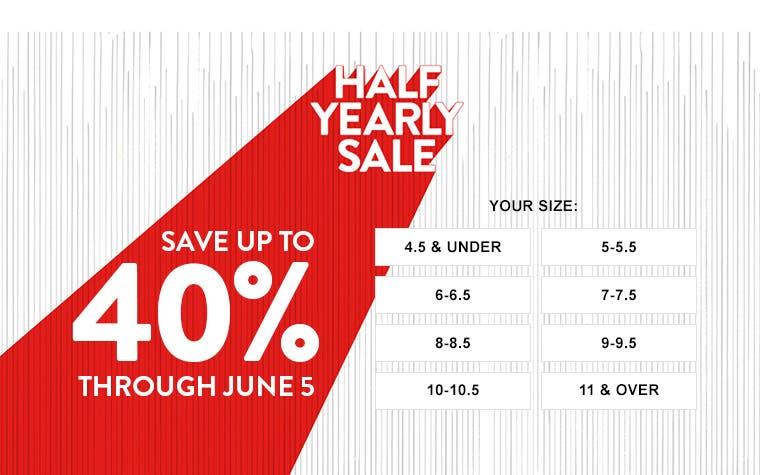 Half-Yearly Sale. Save up to 40% through June 5. Shop women's sale shoes by size.