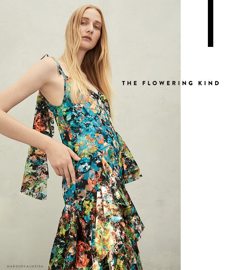Resort 2017 designer trend: the flowering kind. Marques'Almeida dress.