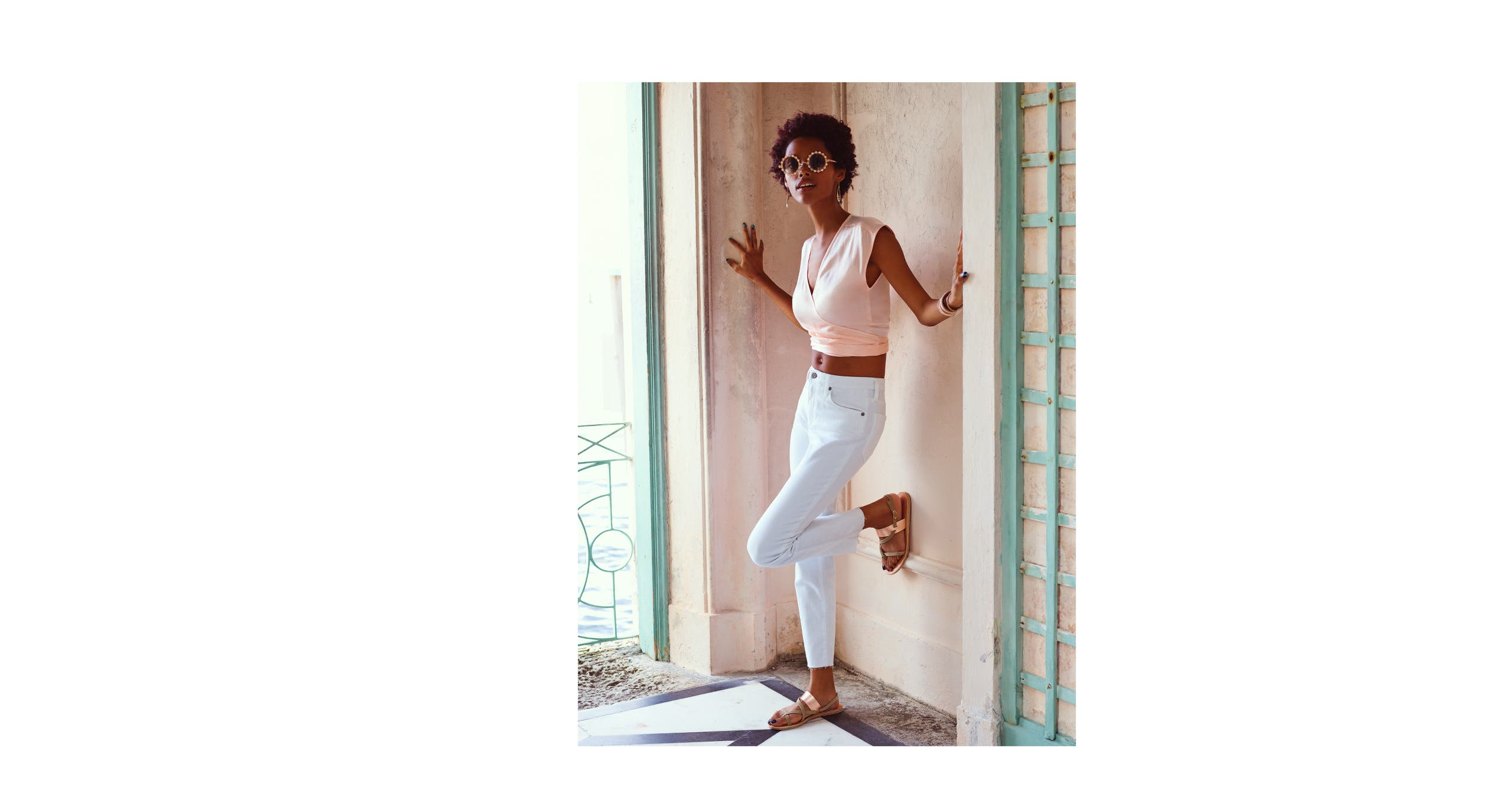 High-waisted white jeans from AG.