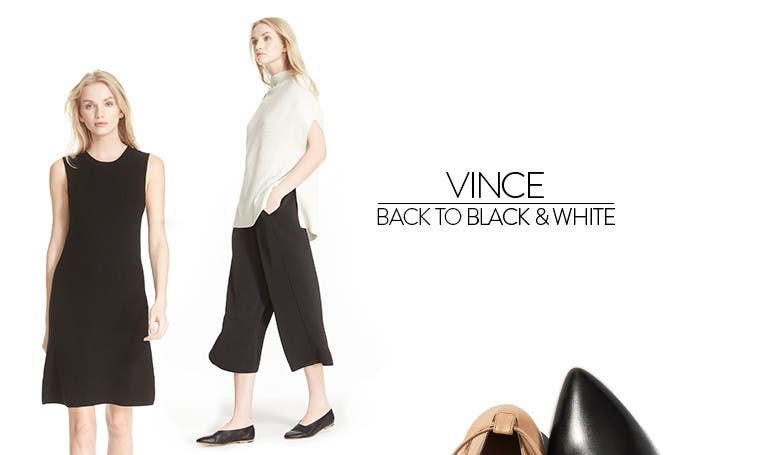 Vince women's clothing: back to black and white.