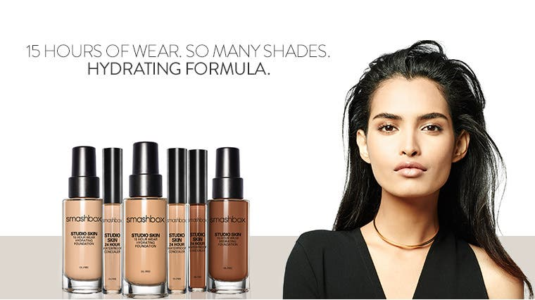 Smashbox foundation and concealer: so many shades; 15 hours of wear; hydrating formula.