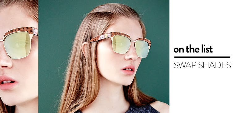 On the list: swap shades. Shop MCM sunglasses and clubmaster sunglasses.