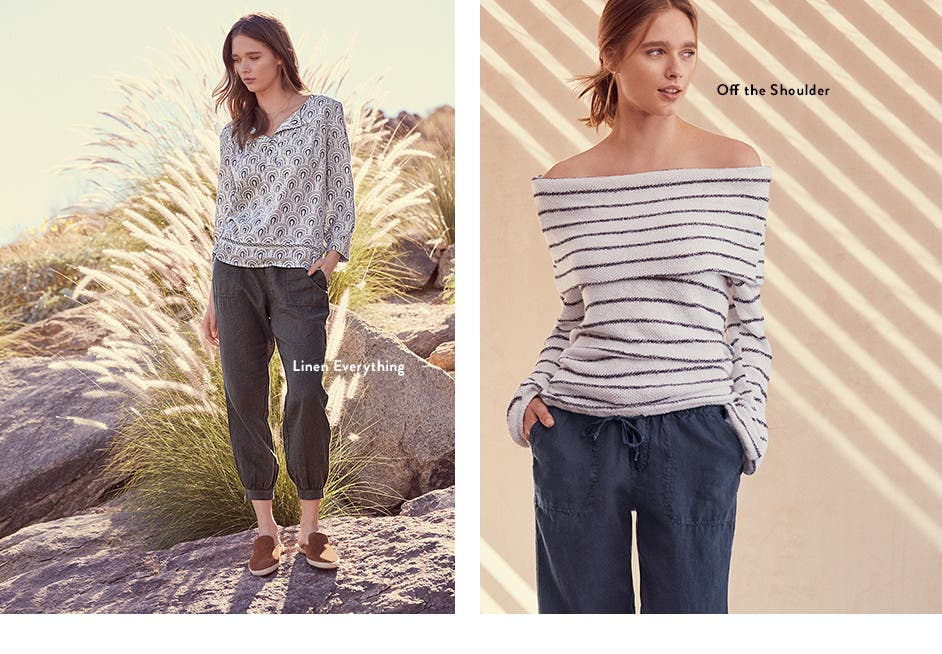 Linen everything. Off-the-shoulder tops.