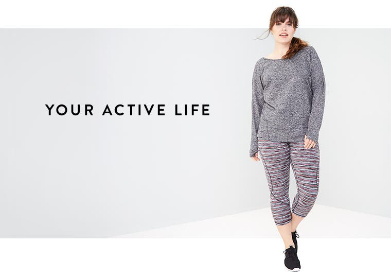 Your active life: plus-size Zella clothing.