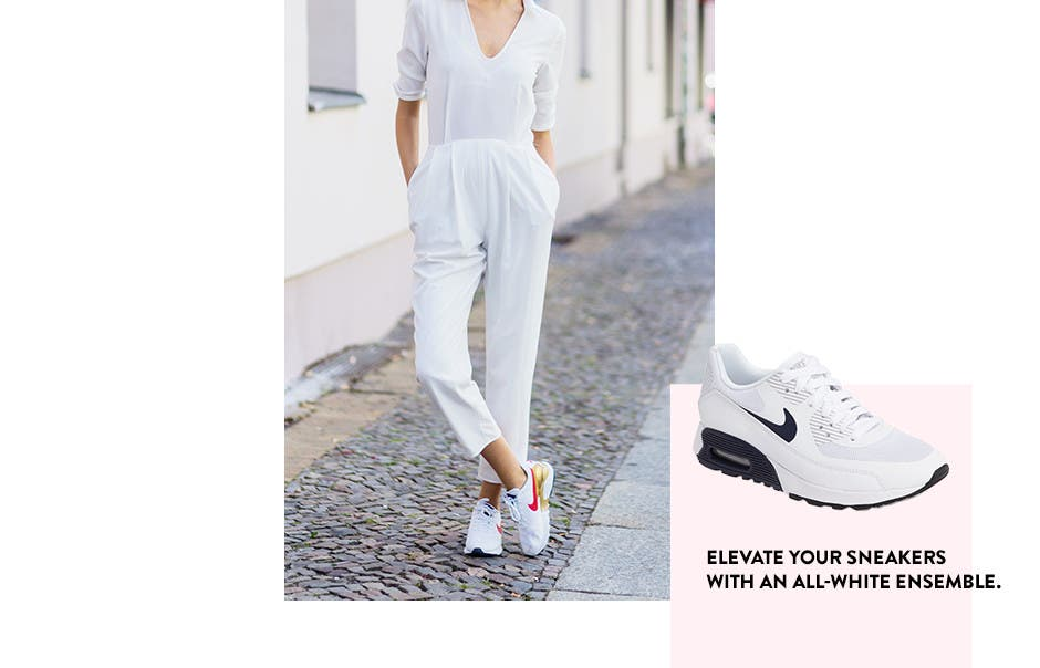 Elevate your sneakers with an all-white ensemble.