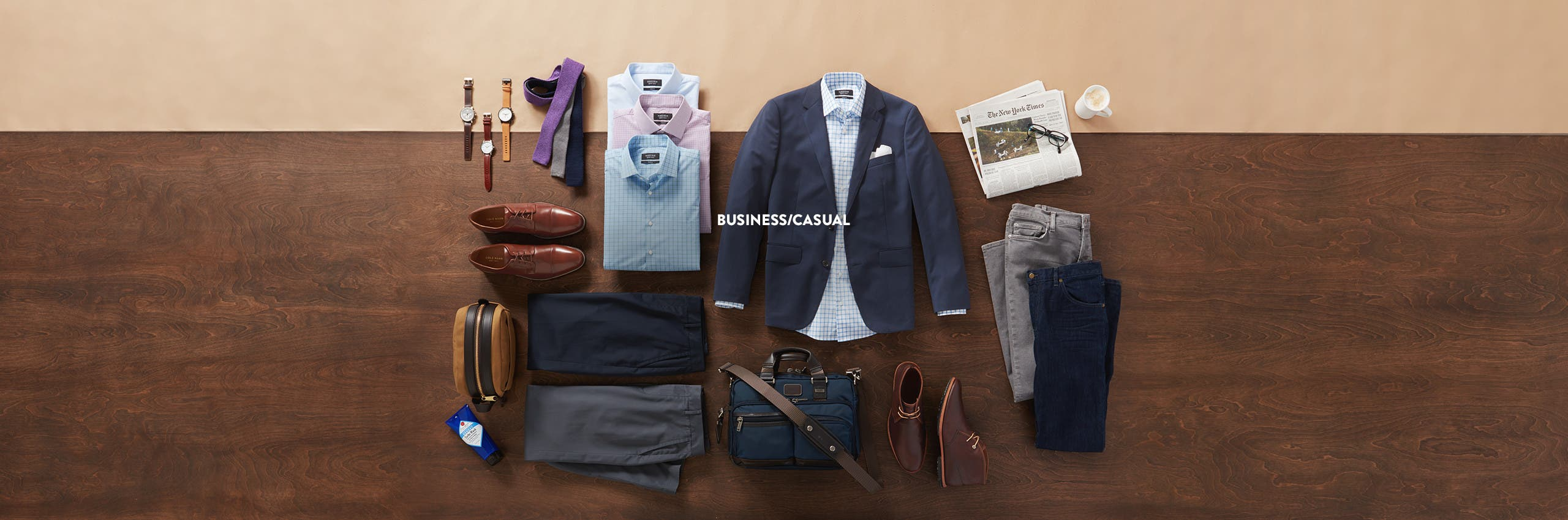 Business-casual clothing for men.