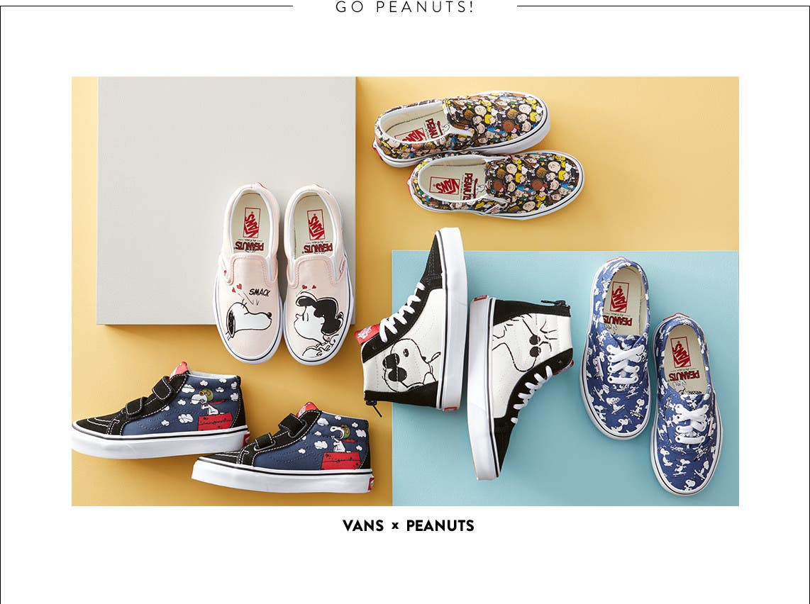 Vans x Peanuts shoes for kids.
