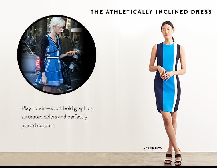 The athletically inclined designer dress with bold graphics and saturated colors. From Akris punto and more.