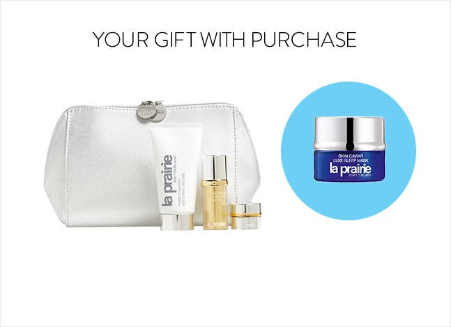 La Prairie gift with purchase. Buy more, get more gift.
