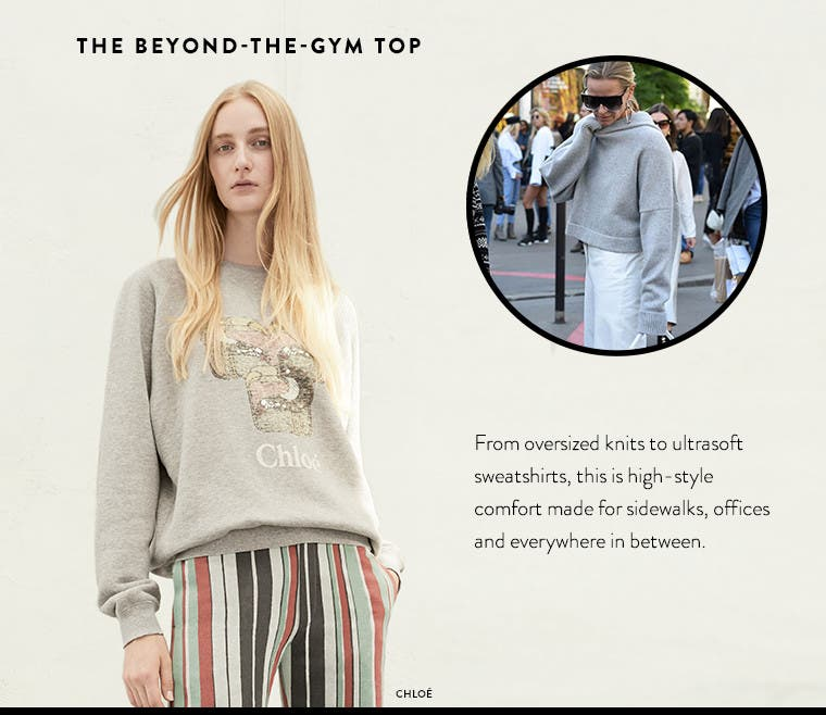 The beyond-the-gym designer top: from oversized knits to ultrasoft sweatshirts, this is high-style comfort from Chloé and more.