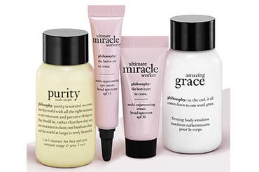 Receive a free 4-piece bonus gift with your $50 Philosophy purchase