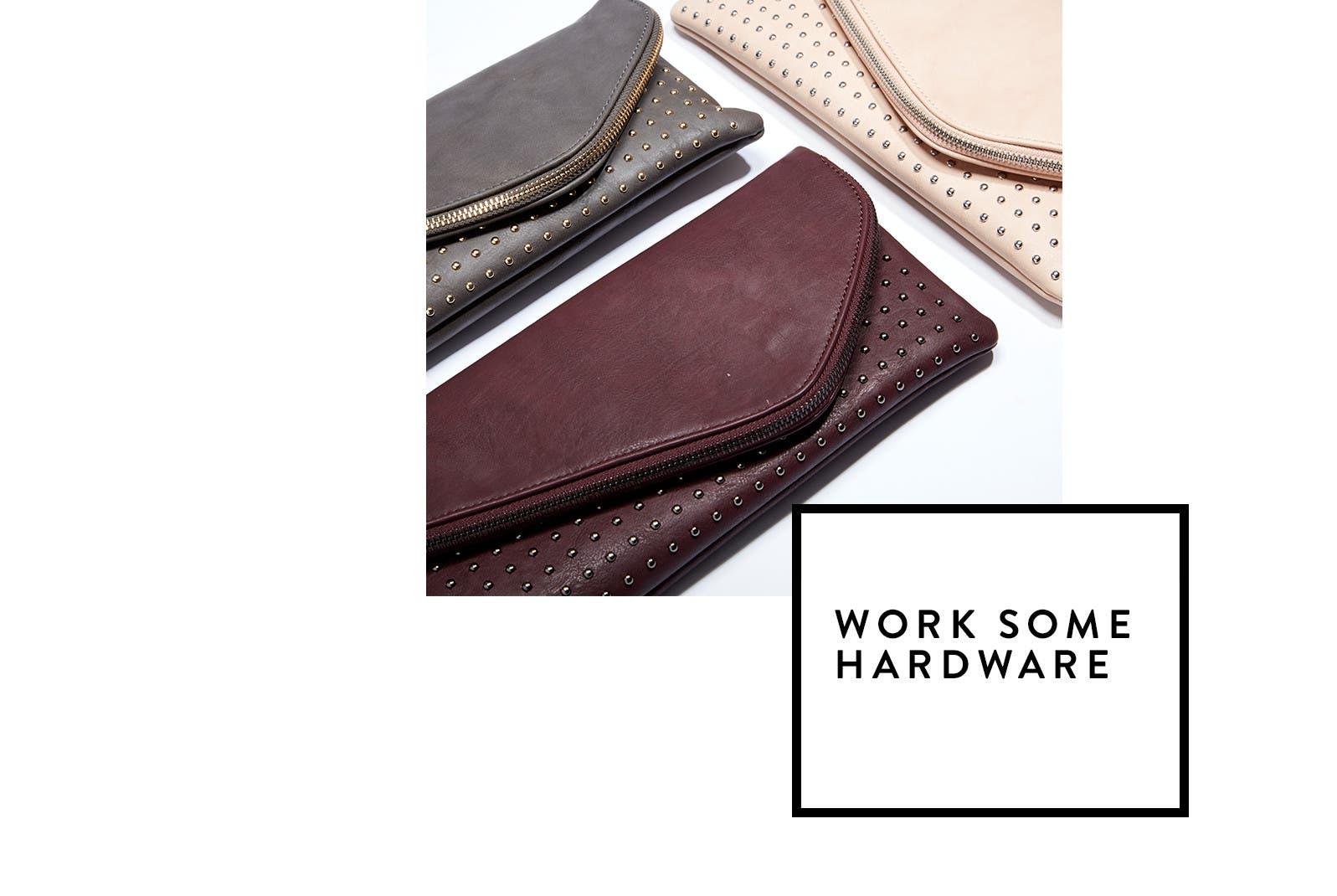 Work some hardware: metal embellished handbags.