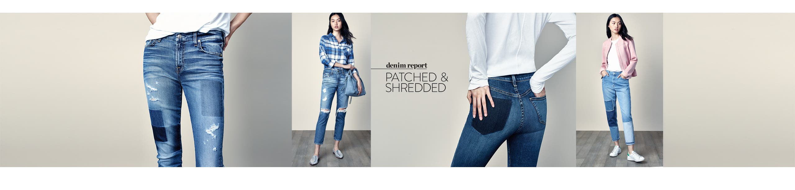 Denim Report: patched and shredded women's jeans.