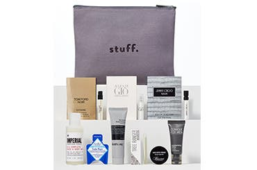 Receive a free 9-piece bonus gift with your $75 men's grooming purchase purchase