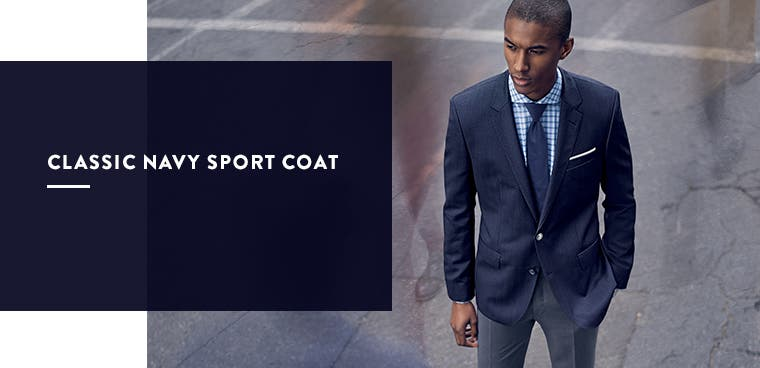 Men's classic navy sport coat.