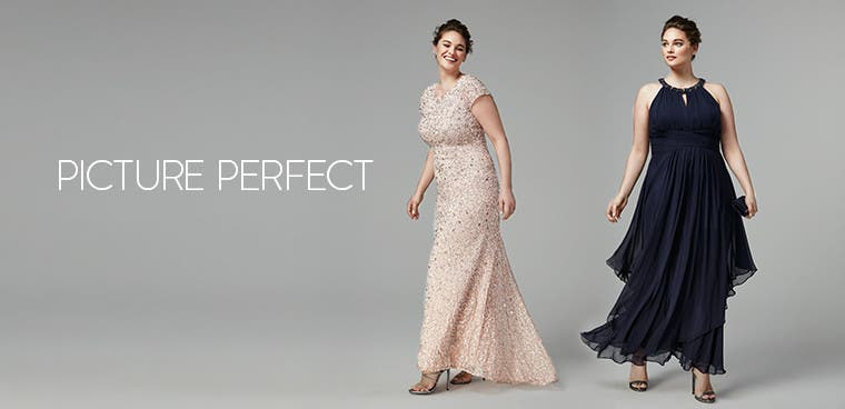 Plus-size mother-of-the-bride dresses.