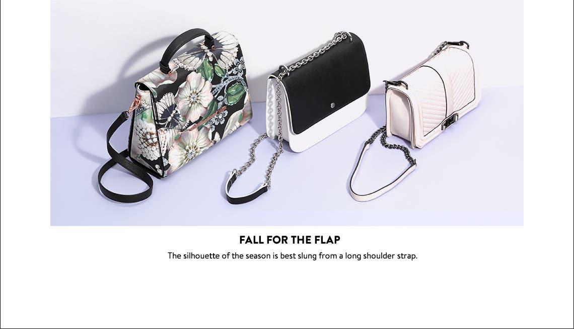 Flap-front shoulder bags.