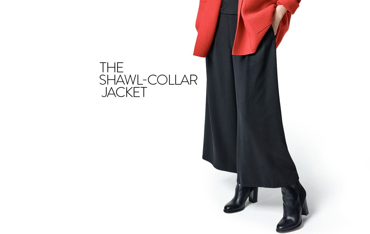Eileen Fisher clothes for women: red wool jacket.