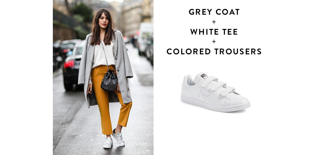 Grey Coat + White Tee + Colored Trousers