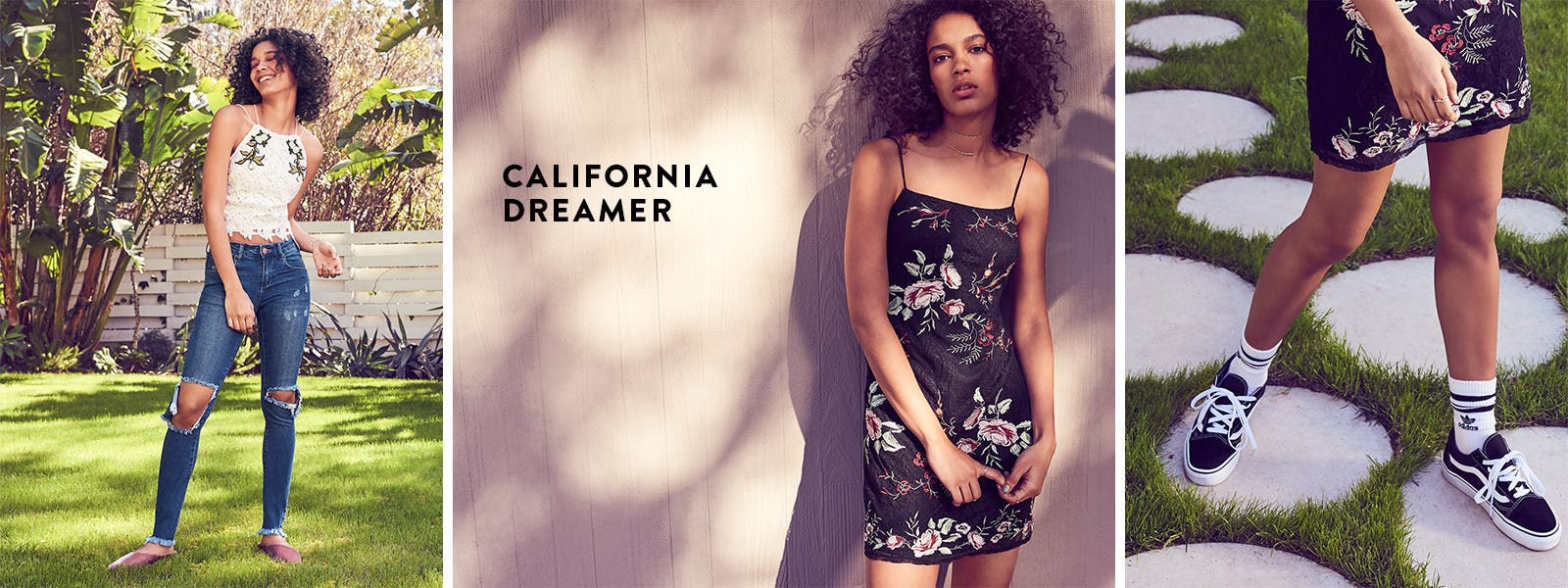 California dreamer: summer trends in women's clothing, shoes and accessories.