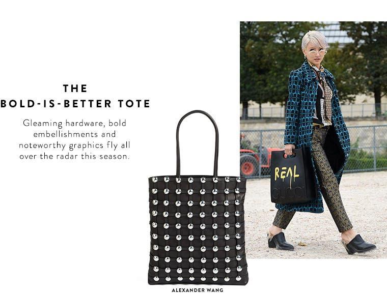 Spring 2017 designer must-have: bold embellished tote bags.