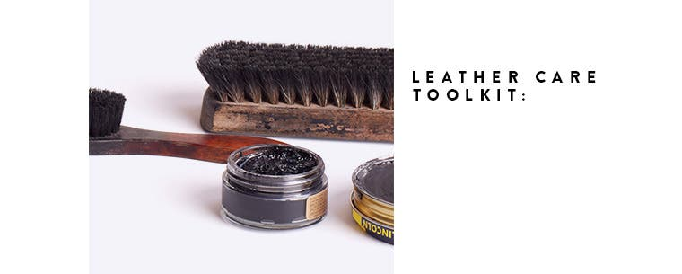 Leather care toolkit for shoes.