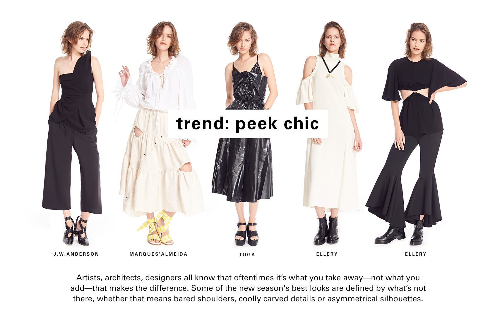 SPACE trend: peek chic. This resort season trend is all about bared shoulders, cutout details and asymmetrical silhouettes.