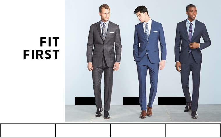 Fit first. Men's suits and sport coats in classic fit, trim and extra trim.