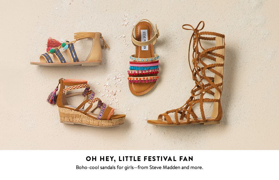 Girls' sandals for little festival fans.