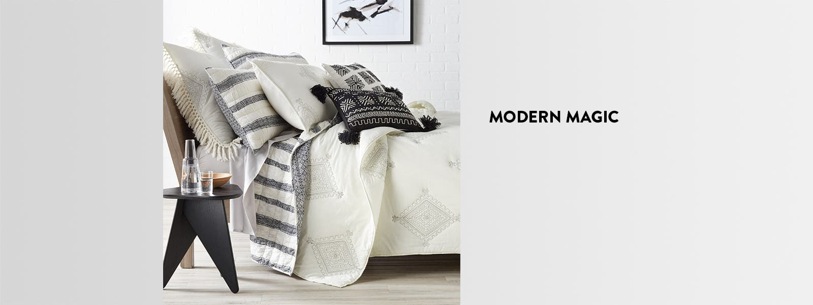 Modern magic: textured and neutral bedding.