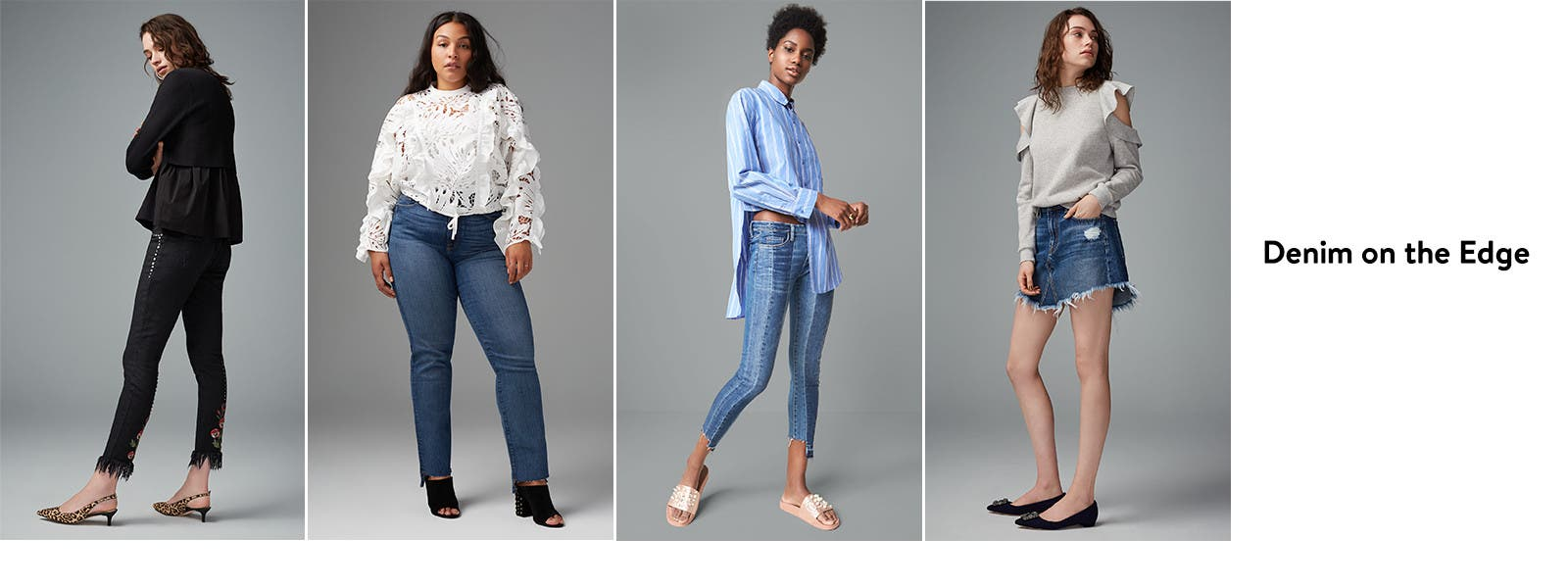 Denim on the edge. Jeans and denim skirts for women.