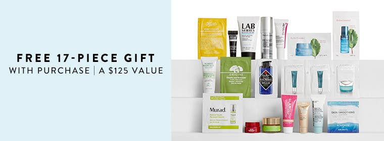 Receive a free 17-piece bonus gift with your $125 Multi-Brand purchase