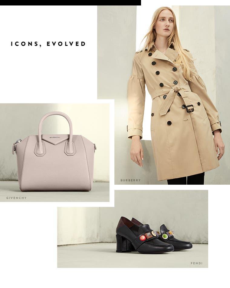 Resort 2017 designer trend: icons, evolved. Burberry trench coat, Givenchy Antigona handbag and Fendi loafers.