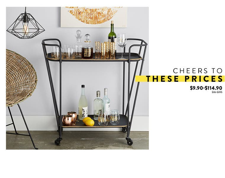 Cheers to these prices: drinkware and bar at Anniversary sale.