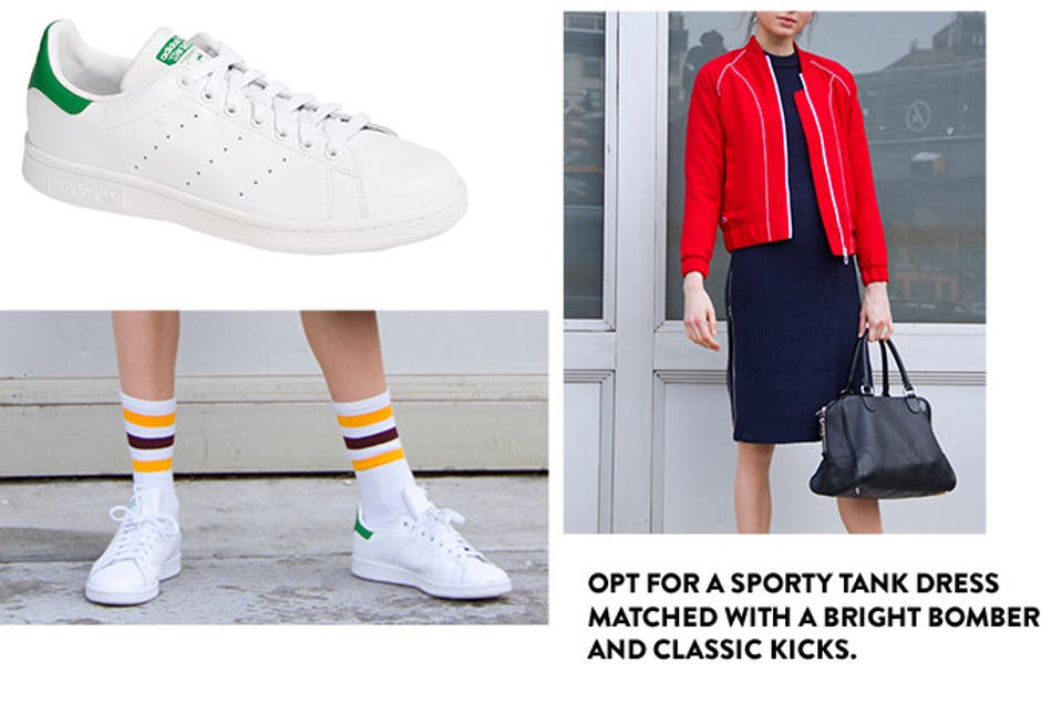 Opt for a sporty tank dress matched with a bright bomber and classic kicks.