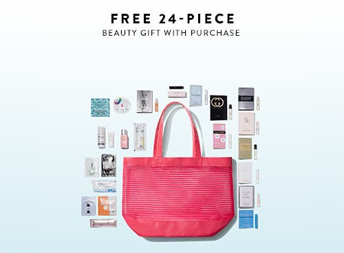 Free 24-piece gift with any $125 beauty or fragrance purchase.