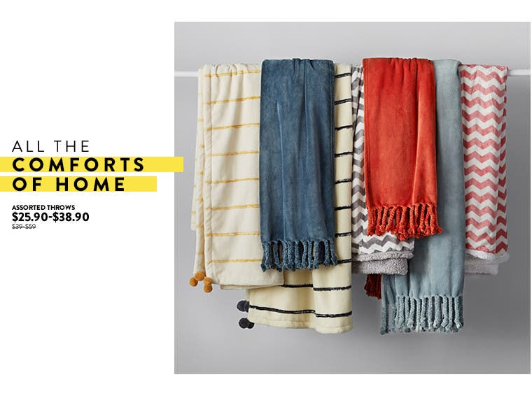 All the comforts of home: throws and pillows at Anniversary sale.