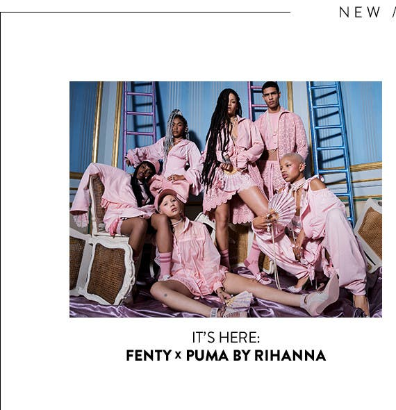 It's here: Fenty x Puma by Rihanna, spring 2017. A tough yet tender collaboration merging coquettish pastels with lacy gym gear.