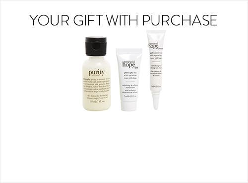 Receive a free 3-piece bonus gift with your $45 Philosophy purchase