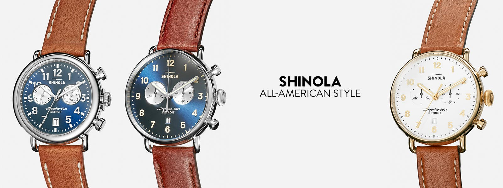 Shinola leather-strap watches.